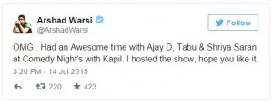 Arshad's Tweet | Comedy Nights with Kapil | Arshad Warsi to Host